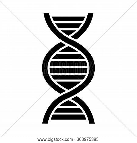 Dna Helix Glyph Icon. Deoxyribonucleic, Nucleic Acid. Spiraling Strands. Chromosome. Molecular Biolo