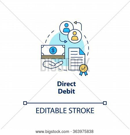Direct Debit Concept Icon. Finacial Withdrawal Idea Thin Line Illustration. Bank Transaction. Online