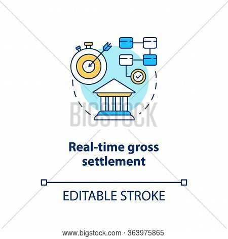Real Time Gross Settlement Concept Icon. Funds Transfer Procedure Idea Thin Line Illustration. Rtgs.