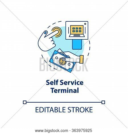 Self Service Terminal Concept Icon. Customer-operated Checkout Idea Thin Line Illustration. Payment