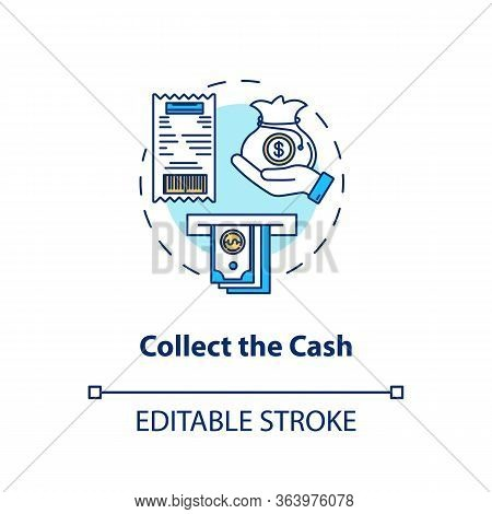 Collect Cash Concept Icon. Money Withdrawal Idea Thin Line Illustration. Atm Transaction Step. Banko