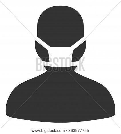 Vector Masked Man Flat Icon. Vector Pictograph Style Is A Flat Symbol Masked Man Icon On A White Bac