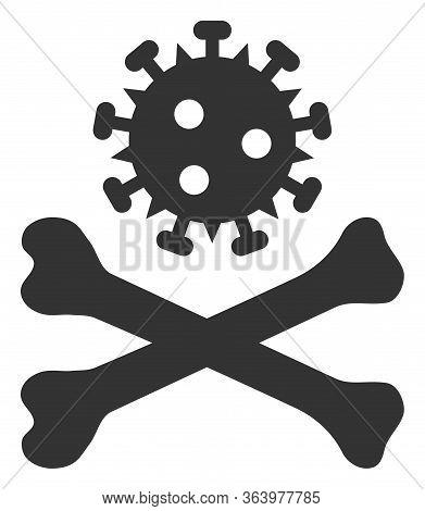 Raster Mortal Virus Flat Icon. Raster Pictograph Style Is A Flat Symbol Mortal Virus Icon On A White