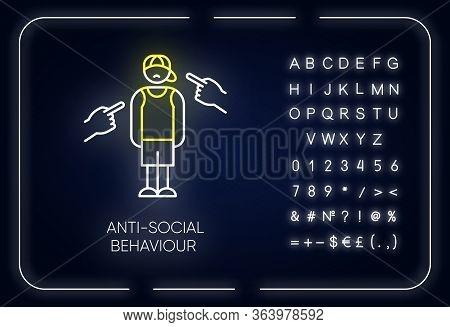 Anti-social Behaviour Neon Light Icon. Harassment And Bullying. Teenager Depression. Agressive Publi