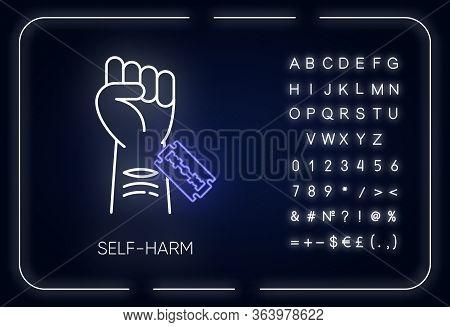 Self-harm Neon Light Icon. Cut Hand With Razor Blade. Open Wound. Mental Disorder. Hurt Vein. Self-i