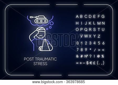 Post-traumatic Stress Neon Light Icon. Veteran With Anxiety. Depressed Soldier. Ptsd Psychotherapy.