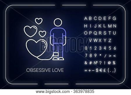 Obsessive Love Neon Light Icon. Possessive Relationship. Attachment To Lover. Compulsive Affection.