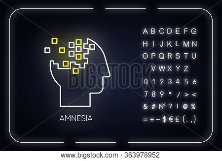Amnesia Neon Light Icon. Memory Loss. Brain Injury. Trouble With Remembering. Korsakoff Syndrome. Me