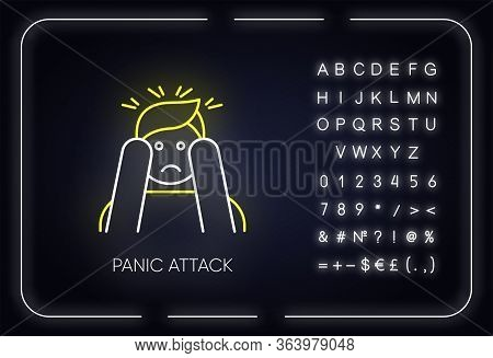 Panic Attack Neon Light Icon. Anxiety And Depression. Paranoia And Phobia. Mental Disorder. Psycholo