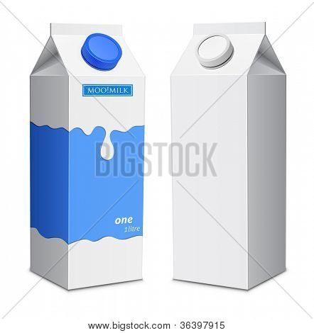 Milk box template. Milk cartons with screw cap