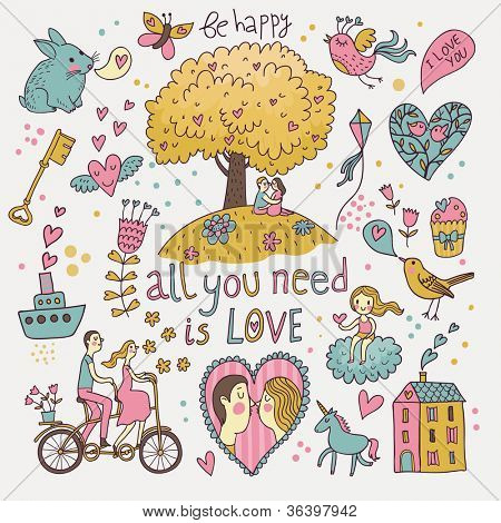 Romantic vector set in cartoon style. Fantasy about love in vector