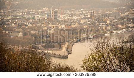 German Corner, German: Deutches Eck, Headland At Mosel And Rhine River Confluence With Monumental Eq