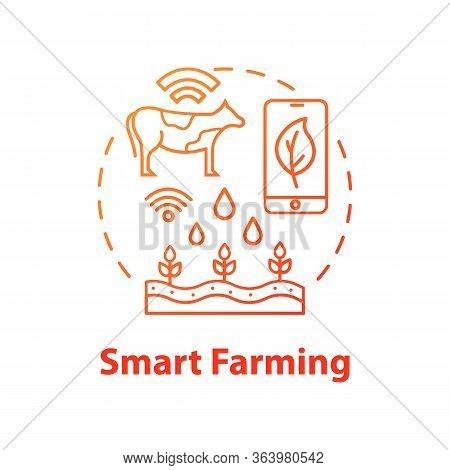 Smart Farming Concept Icon. Manufacturing Automatization. Modern Agriculture Idea Thin Line Illustra