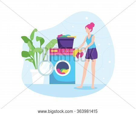 Vector Illustration Of Girl Washing Clothes. Washing Dirty Clothes In The Laundry, Women Washing Clo