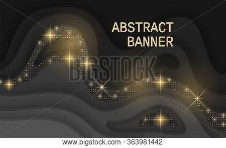 Black Background Textured With Cutout Paper Layers And Golden Glittering Halftone Pattern, Abstract