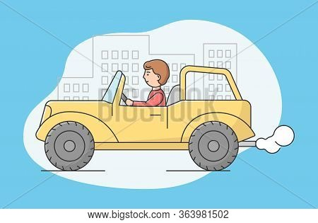 Concept Of Air Pollution By Exhaust Emission, Environmental Protection. Man Riding Car In The City S