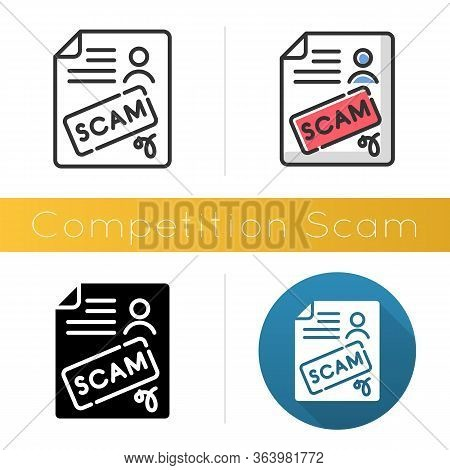 Competition Scam Icon. Money Deposit Fraud. Fake Prize Scamming. Upfront Payment. Financial Scamming