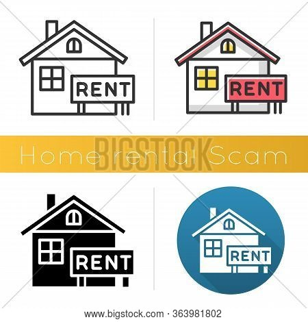 Home Rental Scam Icon. House, Apartment For Rent. Fake Real Estate Agent. Online Fraud. Upfront Paym