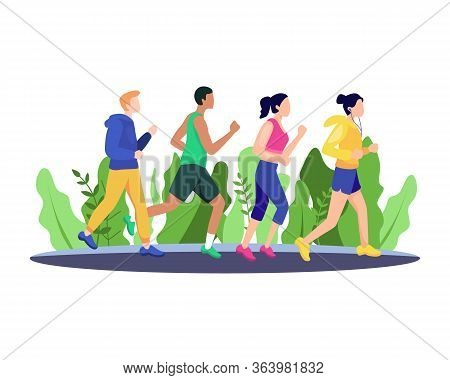 Vector Illustration Jogging People. Marathon Race Group, Running Men And Women Sports Background. Pe