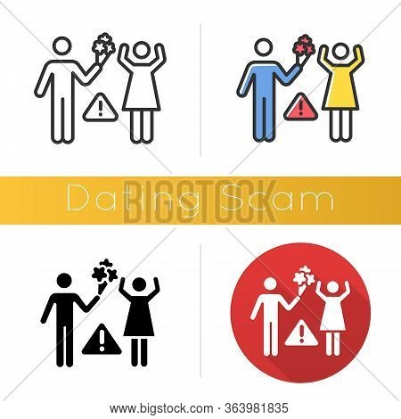 Dating Scam Icon. Online Romance Fraud. Fake Dating Service. False Romantic Intentions, Promises. Mo
