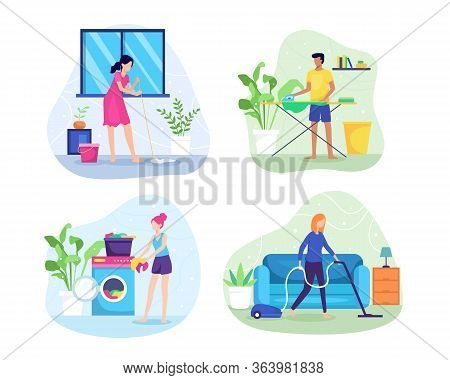 Vector Illustration People Do Housework. A Woman Is Mopping The Floor, Washing Clothes, Vacuuming Th