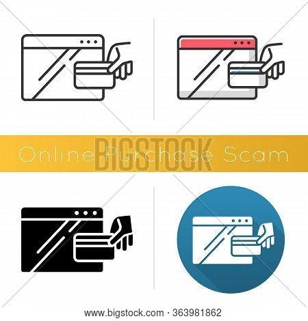 Online Purchase Scam Icon. Internet Shopping Scheme. Illegitimate, Fake Retailer Website. Cybercrime