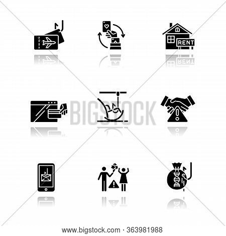Scam Types Drop Shadow Black Glyph Icons Set. Travel, Gambling, Dating Scheme. Pension, Employment T