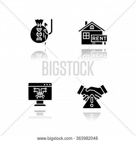 Scam Types Drop Shadow Black Glyph Icons Set. Inheritance, Home Rental Fraudulent Scheme. Computer H