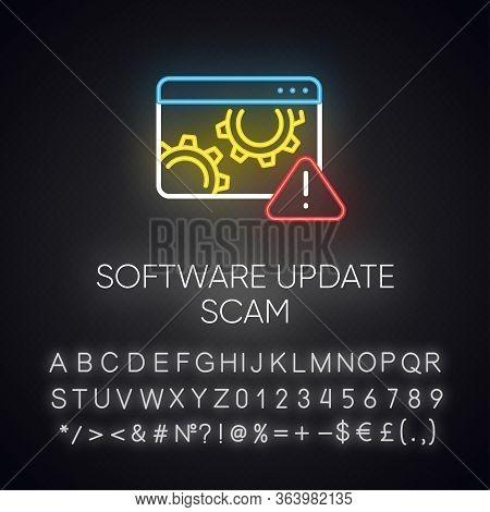 Software Update Scam Neon Light Icon. Fake System, Program Upgrade. Malware. Deceptive Pop-up Ad. Fi