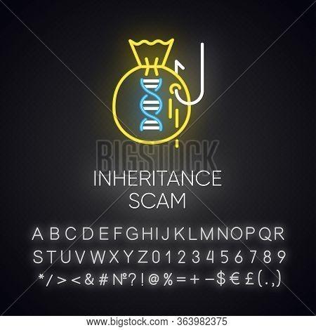 Inheritance Scam Neon Light Icon. Fake Benefactor. Distant Relative Trick. Financial Fraud. Illegal