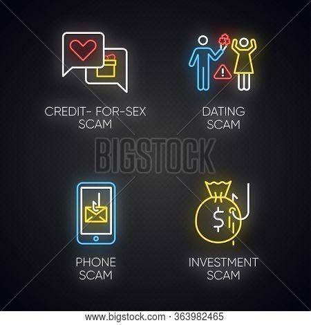 Scam Types Neon Light Icons Set. Credit-for-sex Fraudulent Scheme. Phone, Smishing Trick. Online Dat