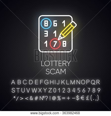 Lottery Scam Neon Light Icon. Advance-fee Fraud. Sweepstake Contest. Prize Scamming. Gambling. Upfro