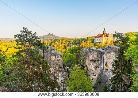 Spring Landscape Panorama Of Bohemian Paradise, Czech: Cesky Raj. Hruba Skala Castle And Trosky Ruin