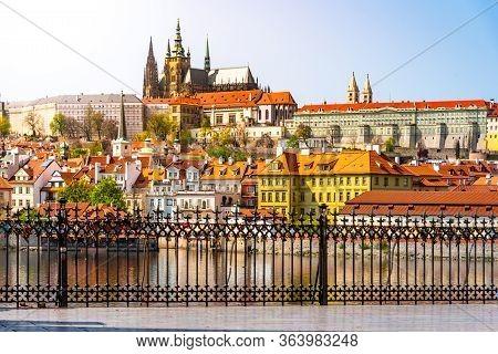 Scenic View Of Prague Castle, Czech: Prazsky Hrad, From Vltava River Embankment On Sunny Spring Day,