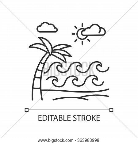 Waves On Sandy Beach Linear Icon. Seaside With Palm. Trip To Indonesian Islands. Sunny Sea Coast In