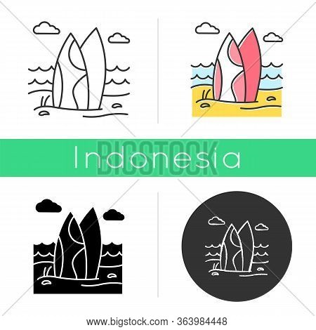 Surfboards On The Beach Icon. Surf Sea Waves. Vacation Trip To Indonesia. Ocean Surfing Activity. Wa
