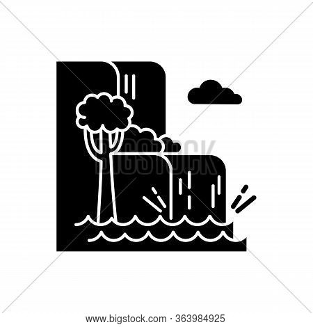 Waterfall Landscape Glyph Icon. Vacation To Indonesia. Hidden Treasures Of Bali. Tropical Jungle Riv