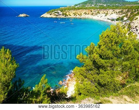Top View From Cala D'hort In A Beautiful Ibiza Beach