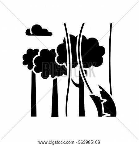 Rainforest Plants And Trees Glyph Icon. Evergreen Forest Vines. Lianas And High Trees. Trip To Indon