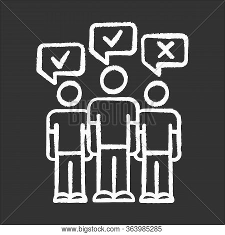 Mass Survey Chalk Icon. Social Opinion, Public Poll. People Voting. Agree And Disagree. Correct, Inc