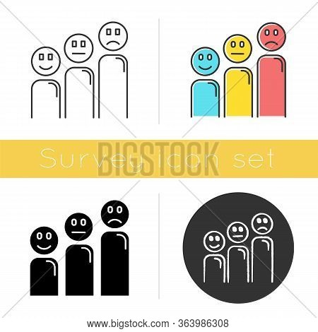 Satisfaction Level Icon. Customer Experience. Negative, Positive Emoticons. Social Reaction Assessme