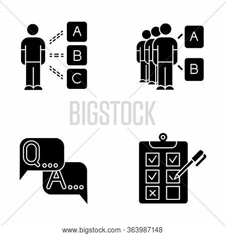 Survey Glyph Icons Set. Personal Questioning. Mass Poll. Social Opinion. Group Test. Faq Sign. Quest