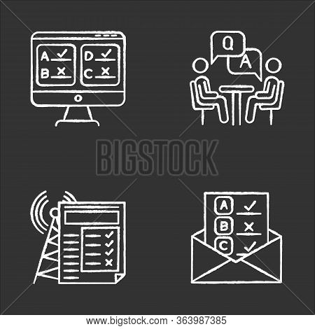 Survey Methods Chalk Icons Set. Online, Email, Internet Connection Poll. Interview. Public Opinion.