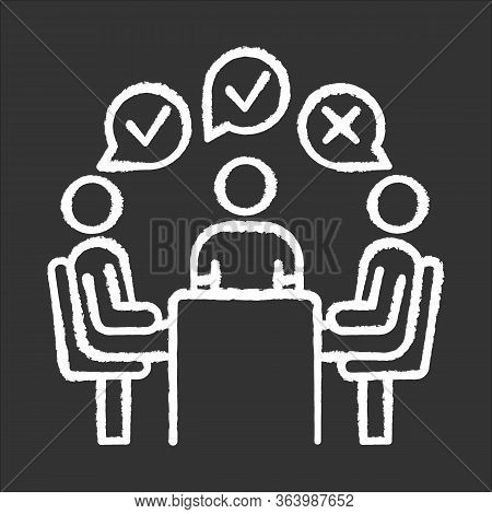 Group Administered Survey Chalk Icon. Public Opinion Polling. Social Research. Feedback. Customer Sa
