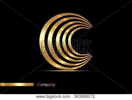 Letter C Gold Logo Design. Vector Graphic Elegant Golden Font With Sample Text, Luxury Symbol Alphab