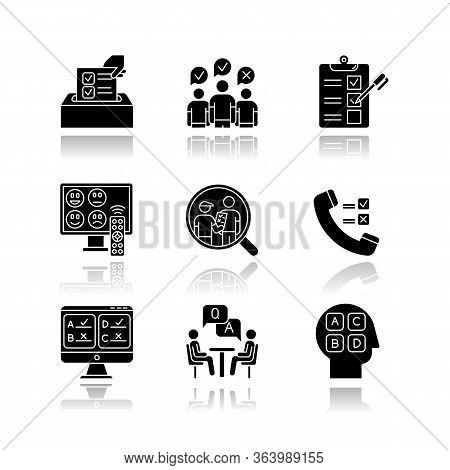 Survey Methods Drop Shadow Black Glyph Icons Set. Telephone, Online Poll. Rating. Interview. Public