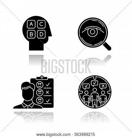 Survey Methods Drop Shadow Black Glyph Icons Set. Analysis. Interview. Emotional Opinion. Target Pop