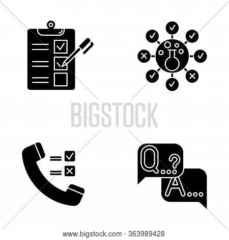 Survey Methods Glyph Icons Set. Telephone Poll. Chemical Analysis. Questionnaire. Interview. Public