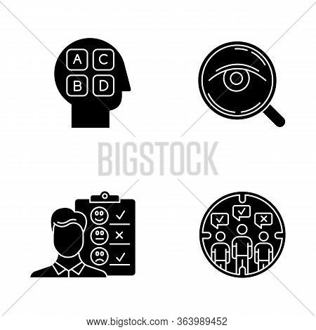 Survey Methods Glyph Icons Set. Analysis. Interview. Emotional Opinion. Target Population. Public Op