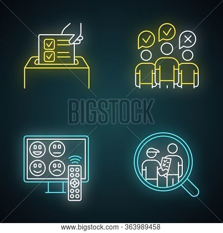 Survey Methods Neon Light Icons Set. Anonymous Poll, Tv Channel Rating. Focus Group. Interview. Publ